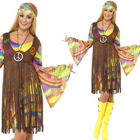women s 1960s hippy fancy dress costume 60s