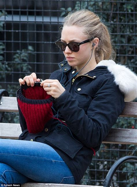 knitting new york city amanda seyfried knits a hat while taking beloved pooch