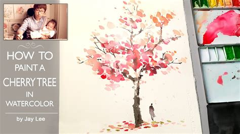 how to water color how to paint a cherry tree in watercolor painting trees