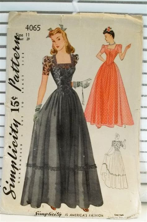 pattern dress formal 1940s vintage formal dress simplicity patterns