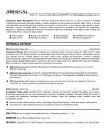 Construction Management Resume Sles by Exle Construction Manager Resume Free Sle