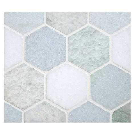 mosaic hexagon pattern hexagon 2 quot mosaic tile polished marine blend marble
