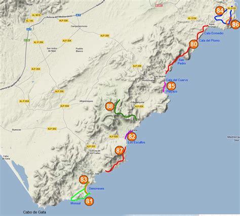 mapa parque cabo de gata cabo de gata senderos de almer 237 a