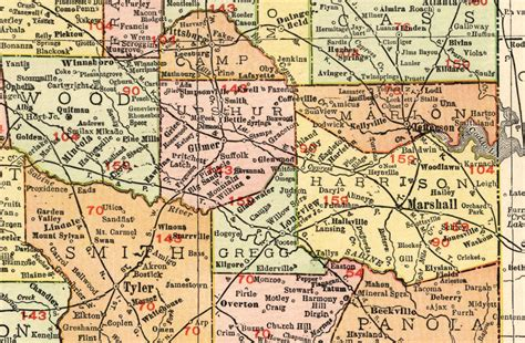 rand mcnally map of texas marshall east texas railway company tex map showing route in 1912
