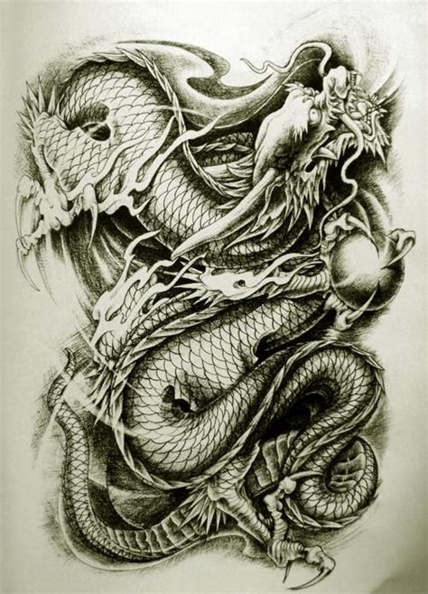 18 best dragons images on pinterest japanese dragon collection of 25 black grey chinese dragon tattoo design
