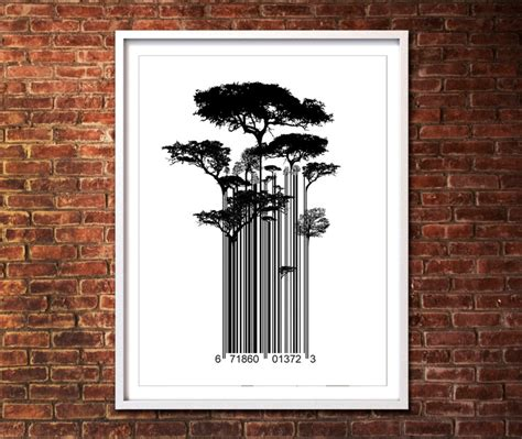 banksy style etsy banksy style barcode trees limited edition