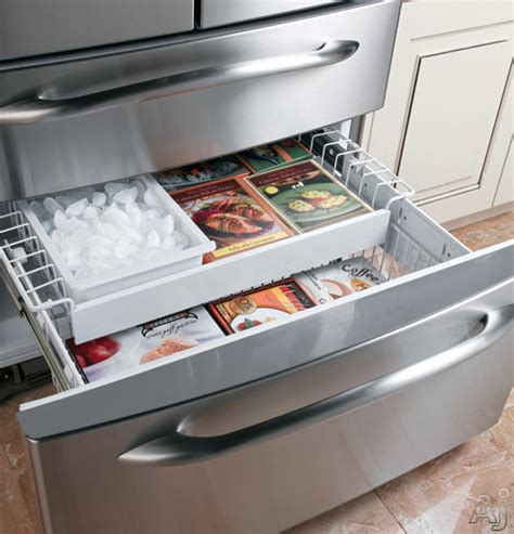 Ge Refrigerator Drawers by Ge Pgcs1nfxss 20 7 Cu Ft Door Refrigerator With Armoire Style Drawer 4 Glass