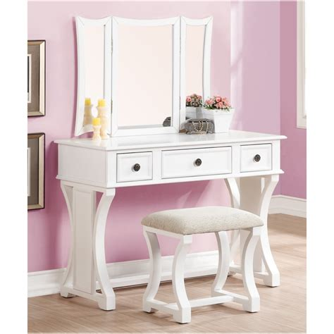 Bedroom Vanity by Poundex 3 Pc White Finish Wood Make Up Bedroom Vanity Set With Curved Pedestal Legs Stool And