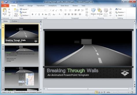 custom powerpoint templates breaking through walls animated powerpoint template