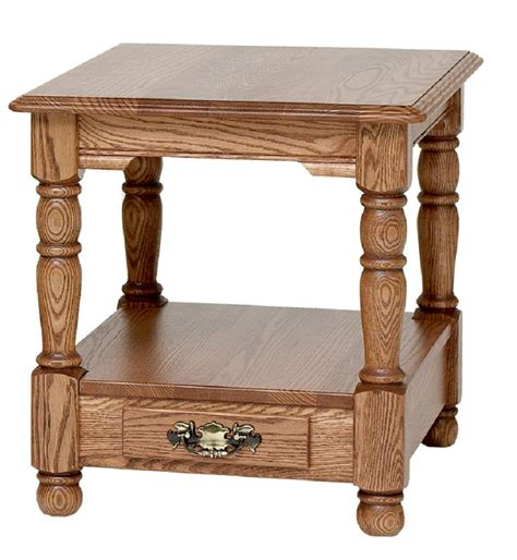 """Country Trend Solid Oak End Table with Drawer   21"""" x 25"""