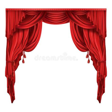teatro tende a strisce theater stage curtains realistic vector stock vector