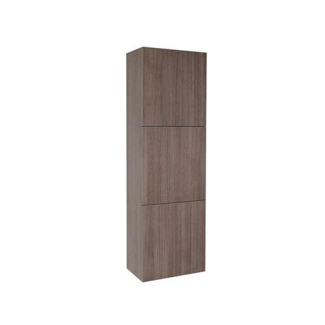 Linen Storage Cabinet With Doors Fresca 17 3 4 In W X 59 In H X 12 In D 3 Door Bathroom Linen Storage Cabinet In Gray Oak
