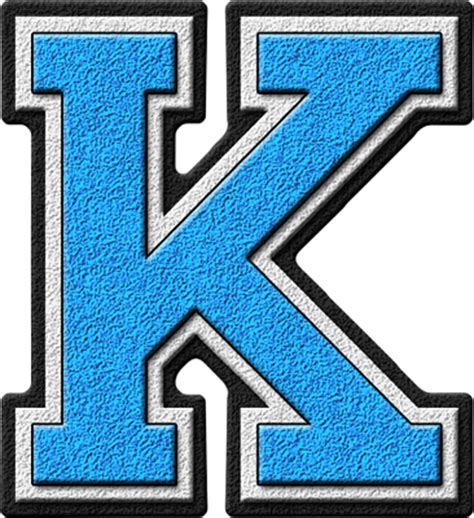 Letter Kc Presentation Alphabets Light Blue Varsity Letter K