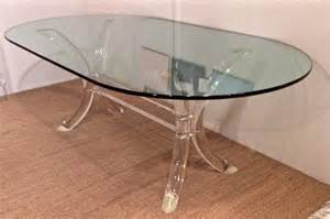 lucite dining table with oval glass top by charles