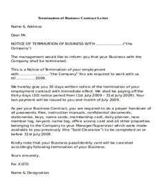Termination Letter For Business Contract Sample Termination Of Business Letter 7 Examples In