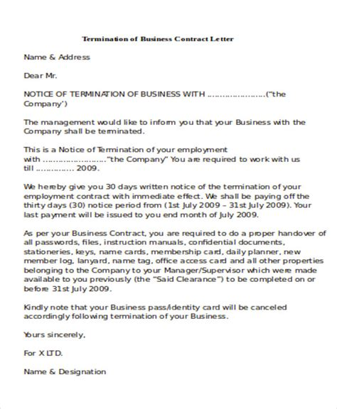 business letter cancellation of contract sle termination of business letter 6 exles in