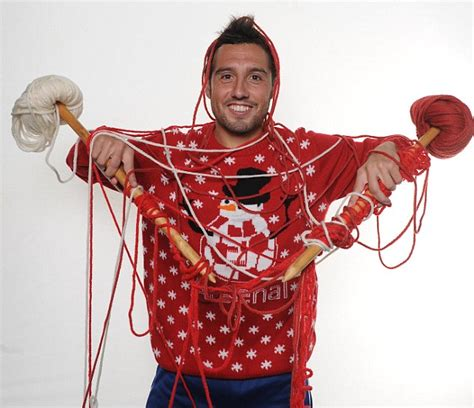 arsenal xmas jumper funny photos arsenal stars wear embarrassing christmas