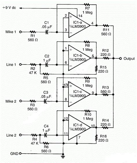 Pcb Mixer Audio circuit diagram lm3900 audio mixer circuit diagram