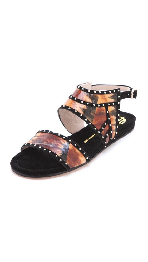 house of harlow sandals house of harlow abra flat sandals in black lyst