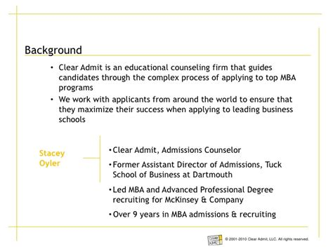 Tuck Mba Process by Breakdown Of Tuck School Of Business Admissions Essays