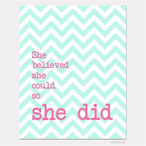 chevron pattern quotes girl print quote wall art she believed she could so she