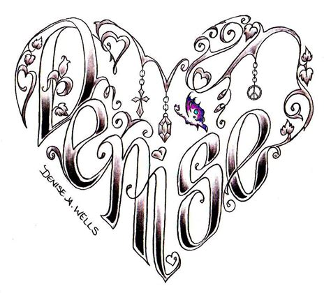 name tattoo designs with hearts design by a name