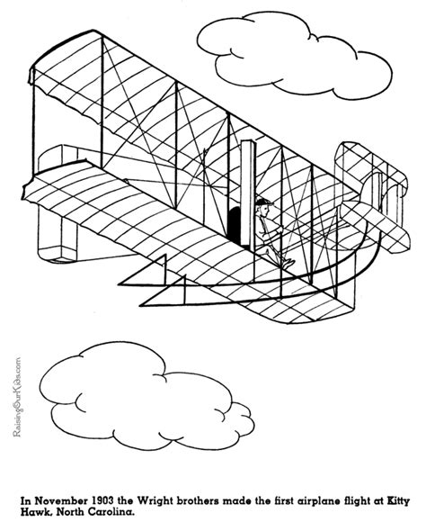 Wright Brothers Coloring Page First Flight At Kitty Hawk Wright Brothers History For by Wright Brothers Coloring Page