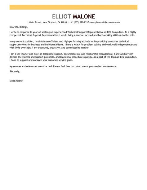 Network Support Specialist Cover Letter by Best Technical Support Cover Letter Exles Livecareer