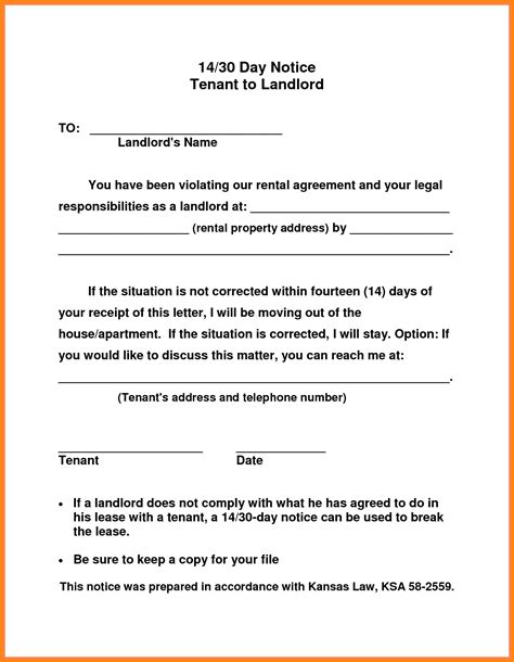 notice to vacate letter to tenant template 30 day notice to vacate letter to tenant template exles