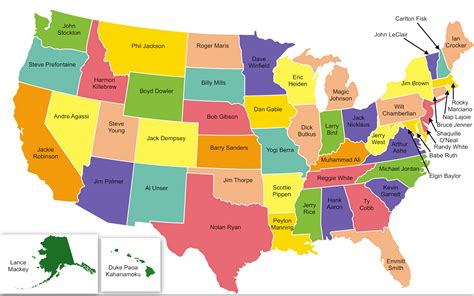 map of states u s map of most iconic athlete from each state craveonline