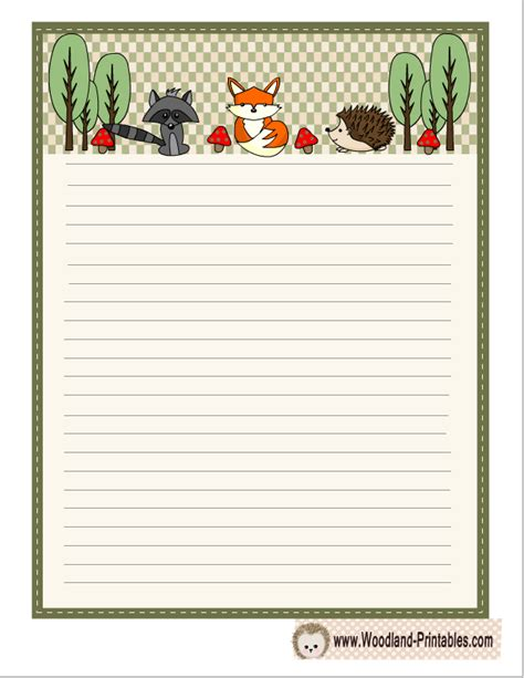 printable animal lined paper free printable woodland writing paper
