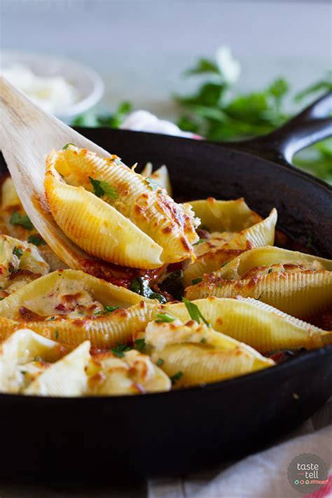 stuffed pasta shells with easy bolognese sauce taste and tell