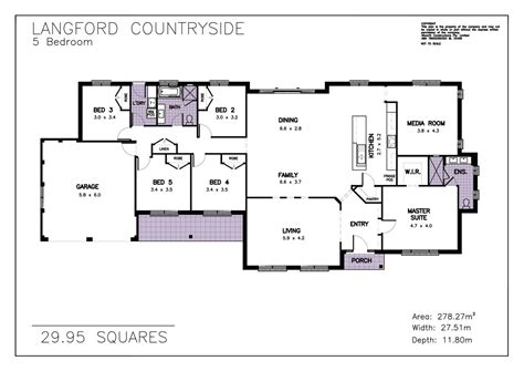 single story 5 bedroom house plans house plan allworth homes 29 langford countryside 5