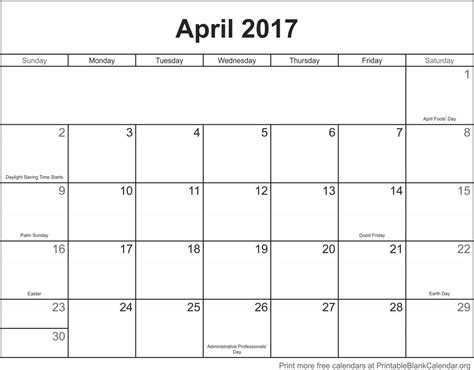 printable calendar april 2017 april 2017 printable calendar printable blank calendar org