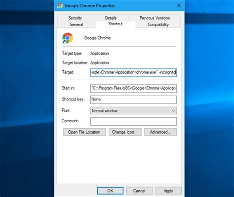 chrome incognito shortcut how to always start any browser in private browsing mode
