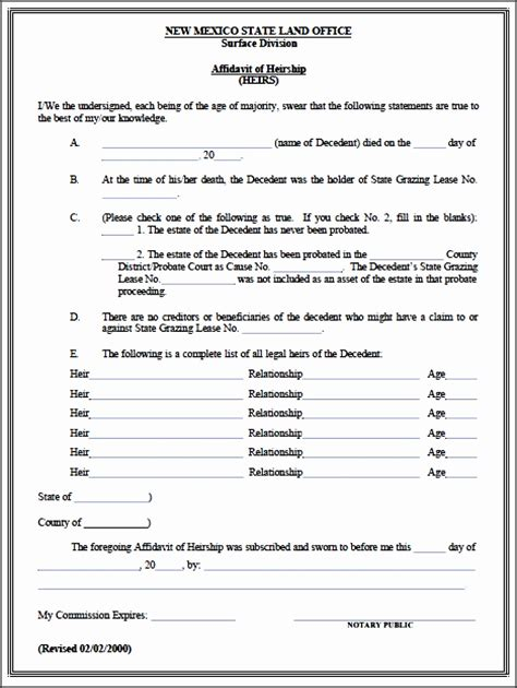 6 Affidavit Form Sle Ms Word Sletemplatess Sletemplatess Affidavit Of Heirship Template