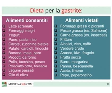 alimenti x gastrite dieta per gastrite cosa mangiare cibi da evitare e