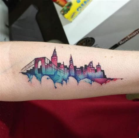 nyc watercolor skyline by june jung tattooblend