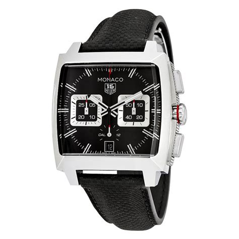 Tag Heuer Monaco V4 Leather Silver Black Hublot Ap Expedition tag heuer monaco black opalin automatic s