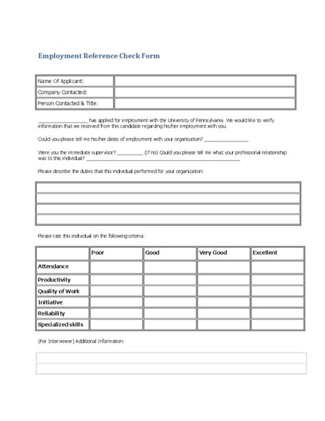 employee reference check template reference checklist template invitation template