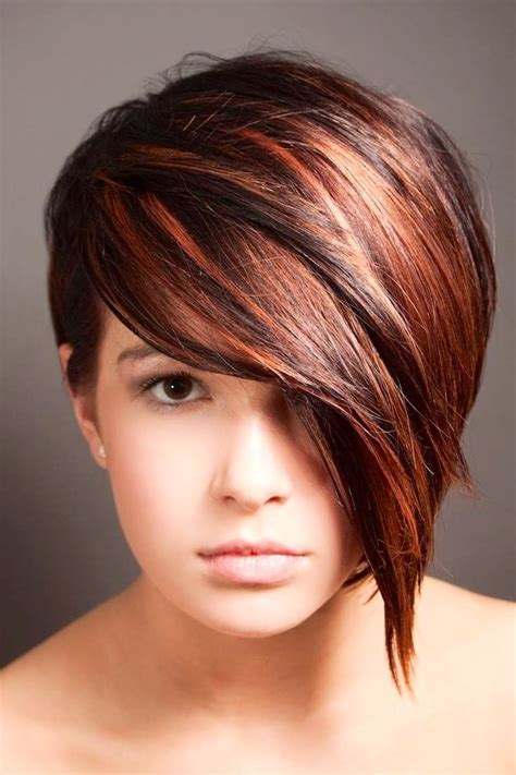 hairstyles color and cut half long front pixie cut in red hair pinterest