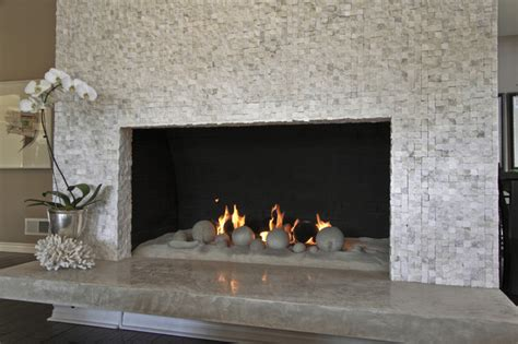 sugar cube mosaic fireplace contemporary living room