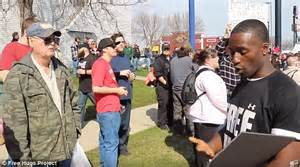 black man s free hugs project shifts love toward cops in donald trump s wisconsin supporters react angrily towards