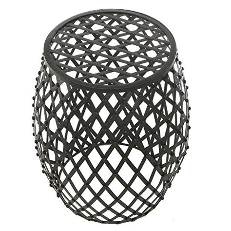 Black Metal Garden Stool by Bohemian Chic Openwork Lattice Design Black Metal Garden