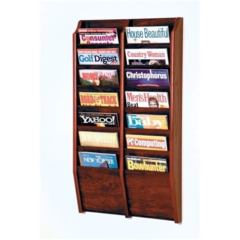 Magazine Rack by Wooden Mallet 14 Pocket Wall Mount Mahogany Magazine Rack