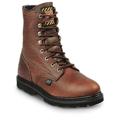 justin light up boots justin boots s 8 quot premium light duty lace up work