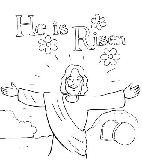 he is risen in jesus resurrection coloring page netart