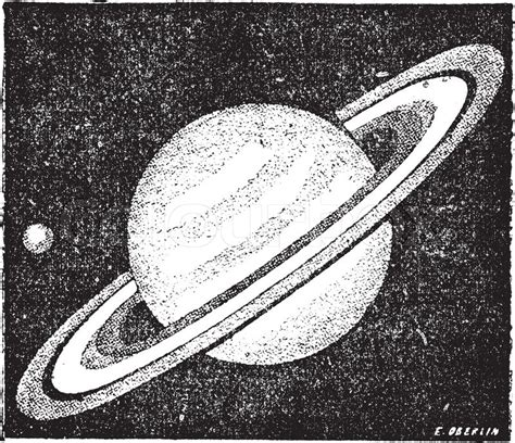 Vintage Satuan comparison of the sizes of saturn and earth vintage