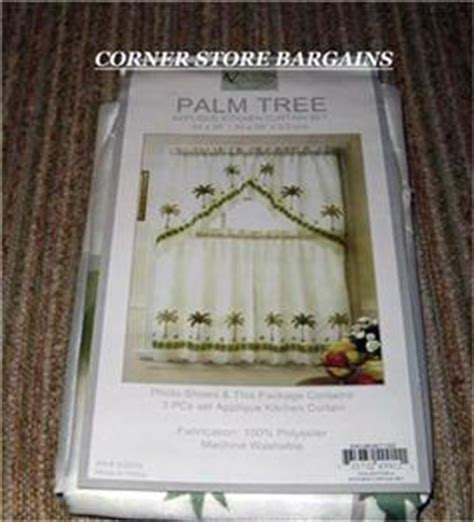 sheer palm tree kitchen curtain swag set new ivory