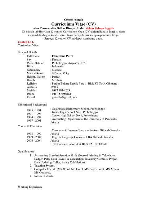 contoh daftar riwayat hidup bahasa inggris contoh surat untuk lamaran